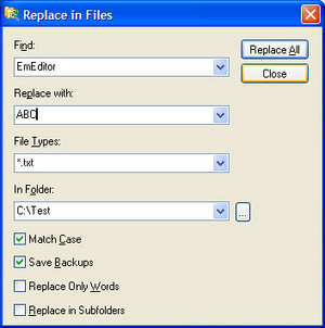 Search and Replace Program - Screenshot for Replace in Files
