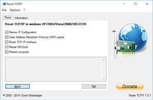 Reset TCPIP Screenshot
