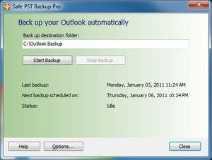Backup Utilities - Screenshot for Safe PST Backup for Microsoft Outlook