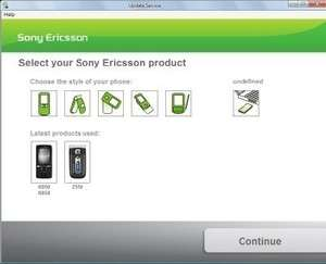 Sony Ericsson Update Service Screenshot