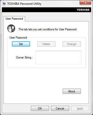 Toshiba Password Utility Screenshot