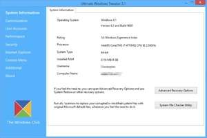 Windows Tweaks - Screenshot for Ultimate Windows Tweaker