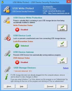 File and Folder Protection - Screenshot for USB Write Protect