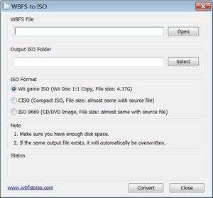 CD and DVD Utilities - Screenshot for WBFS to ISO