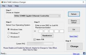 Win7 MAC Address Changer Screenshot