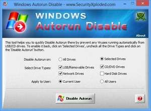 Windows Autorun Disable Screenshot