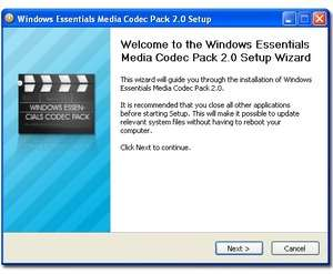 Windows Essentials Media Codec Pack Screenshot