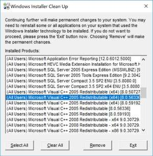 Install and Uninstall Tools - Screenshot for Windows Installer CleanUp Utility