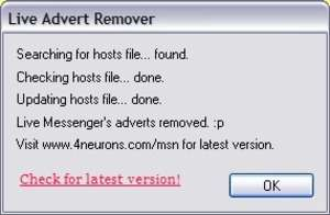 Popup and Ad Blockers - Screenshot for Windows Live Advert Remover
