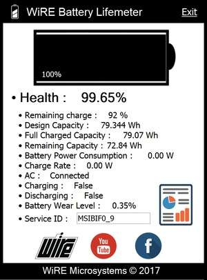 WiRE Battery Lifemeter Screenshot