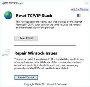 XP TCP IP Repair Screenshot