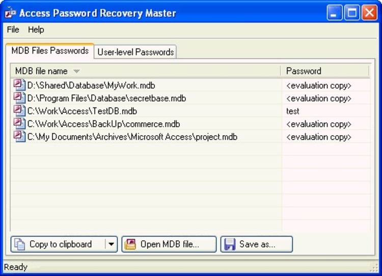 The user to recover lost or forgotten passwords for the MS Access