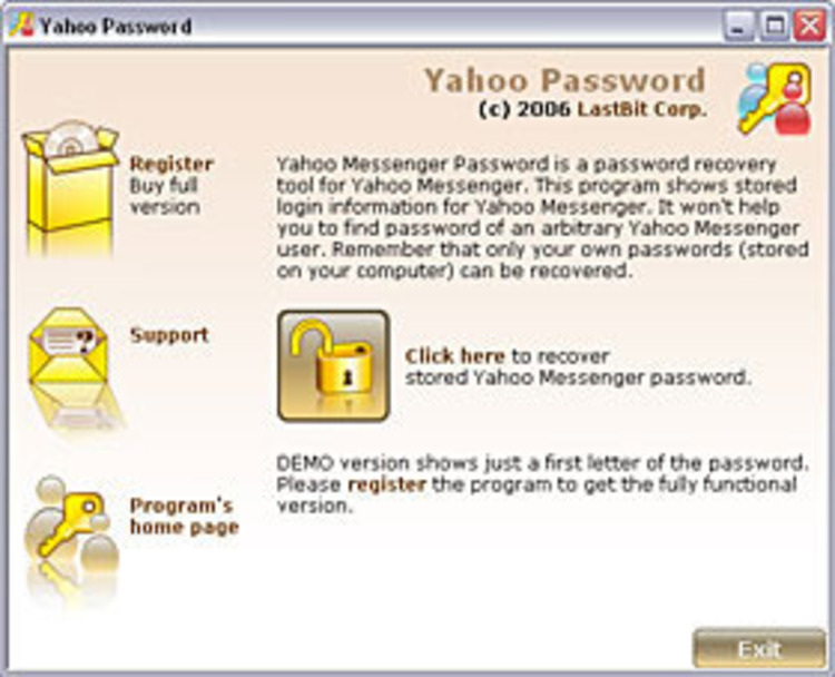 Download yahoo messenger password cracker by radustudio