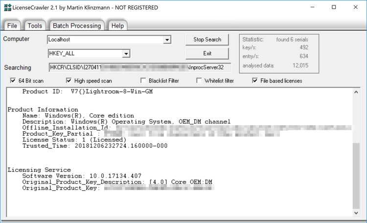 При помощи программы LicenseCrawler можно получить информацию о