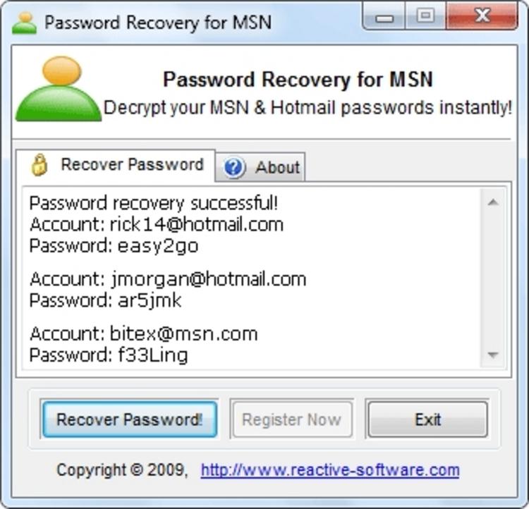 ОС: WinME,Win2000,WinXP,Win2003,WinVista. Password Recovery for MSN 1.08.0
